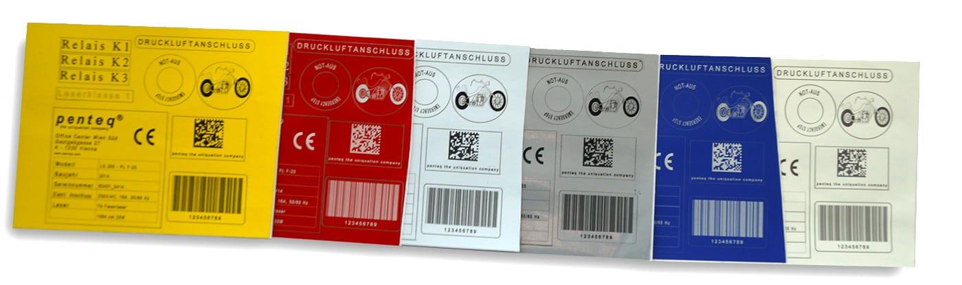 Sechs aufgereihte beschriftete Etiketten in verschiedenen Farben