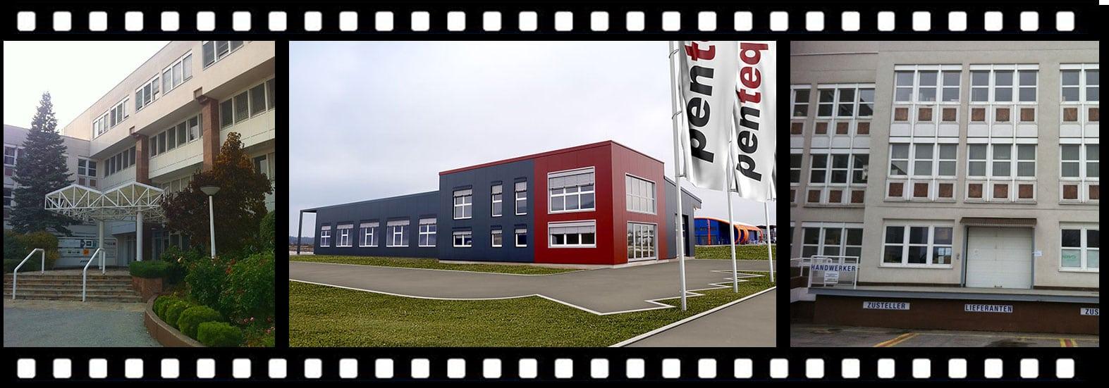 Filmstreifen Abbildung der Firmengebäude von penteq Laser