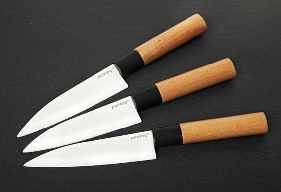 """Drei Messer mit beschrifteter Keramikklinge """"penteq"""""""