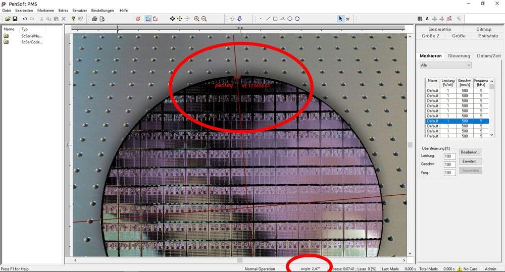 Screenshot von PenVision Bildverarbeitungssystem für Laseranwendungen.
