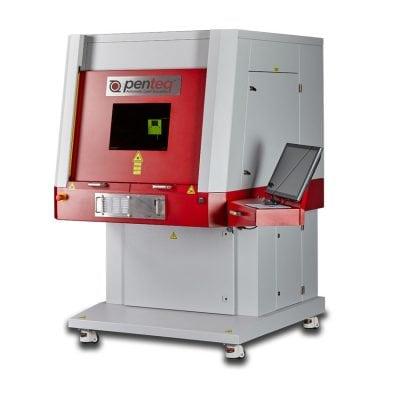 Maschine Laserworkstation LG 300, für das Beschriften von großen Werkstücken oder einer hohen Stückzahl kleiner Werkstücke.