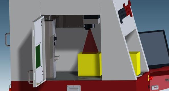 Tür mit integrierter Sicherheitstechnik, ermöglicht das Beladen mit großen und schweren Teilen.
