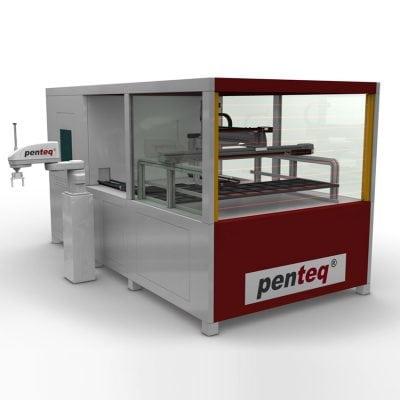 Laserbeschriftungsanlage für Aluminiumgehäuse mit Wechseltisch und Roboterladung