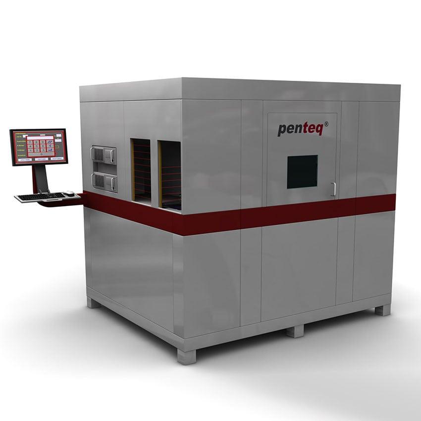 Laserbeschriftungsanlage für Formteile mit zwei Einlegepositionen für simultanes Beladen.