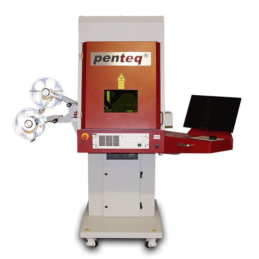 Folien/Etikettenlaseranlage für automatisches Beschriften und Schneiden von Laseretiketten und Laserfolie.