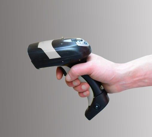 Handscanner für gedruckte Codes.