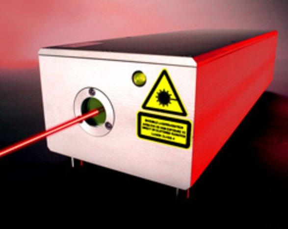 Laserstrahlquelle mit austretendem Laserstrahl