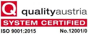 Zertifikat qualotyaustria ISO 9001:2015 No. 12001/0